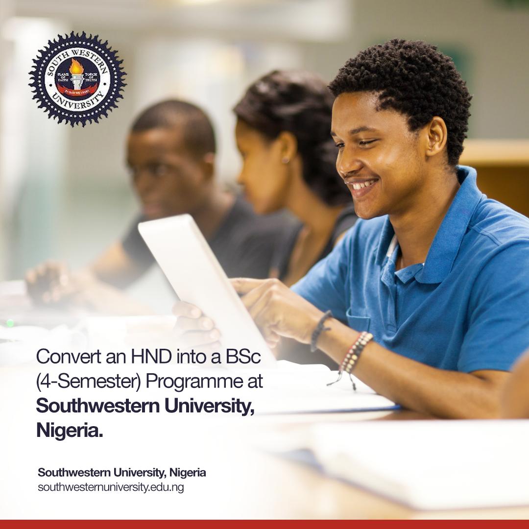 HND Top Up Degree Program at SouthWestern University, Nigeria